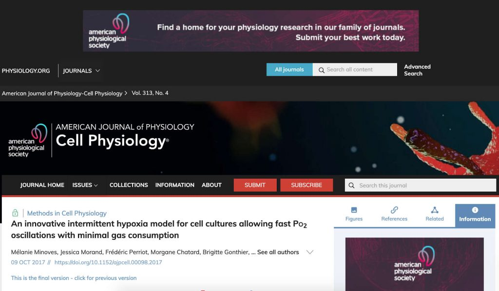 AMERICAN PHYSIOLOGY SOCIETY 2017 – Scientific Paper- Intermittent hypoxia model