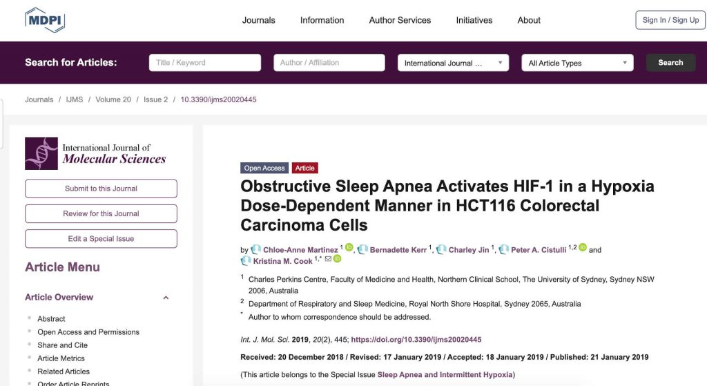 IJMS – Scientific Paper – Obstructive Sleep Apnea and Colorectal Carcinoma Cells